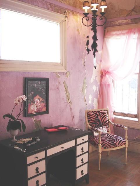 Black desk with pink zebra chair flickr photo sharing