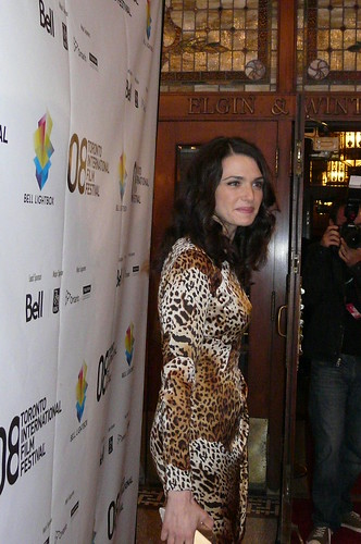 Rachel Weisz posing for some photos infront of the elgin theater for the TIFF '08 premiere of the Wrestler