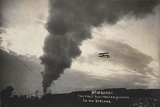 W.E. Hart in his Boxkite biplane, 1911 / photographed by J. L. Turner