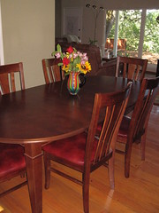 cherry table and Leather Alderwood Chairs
