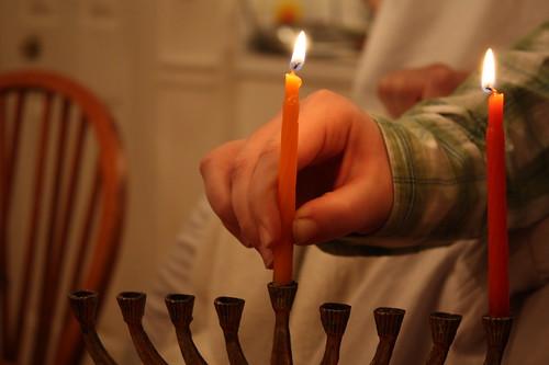 Lighting Hanukkah Candles