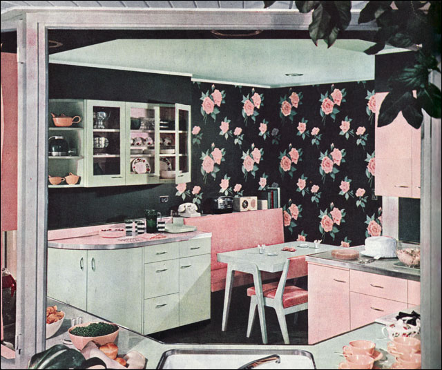 1949 Green & Pink Kitchen Dining Corner