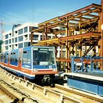 London Docklands. DLR B86 car nr 07 entering South Quay Station, 1991