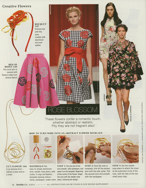 Burda-March-2014 Rose Applique and Necklace