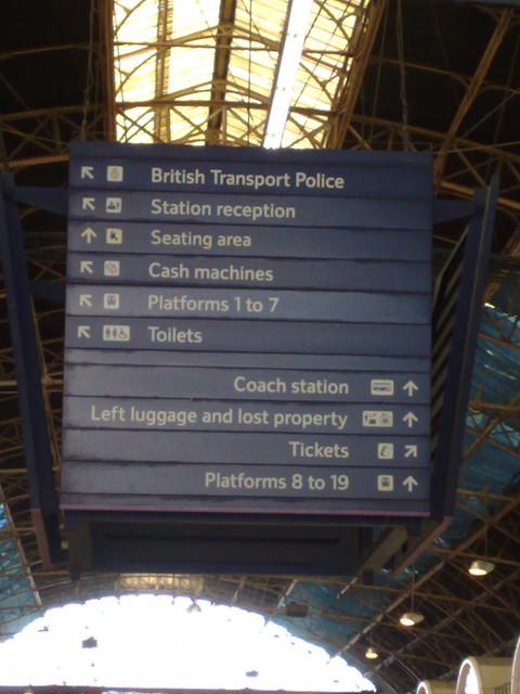 Victoria Station notice board