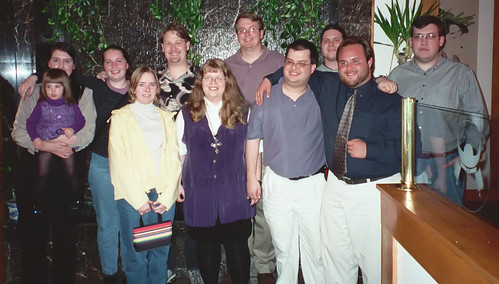 Sean's birthday party.  (front row, left-right) Jessica, myself, Jeff, Chris. (second row, left-right) Crystal (holding her daughter), Kat, Sean, Rick, Jeff (not my spouse) and Jeremy.