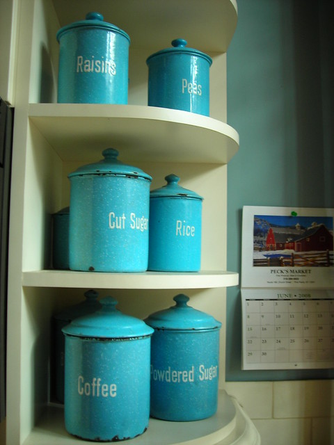 blue canisters