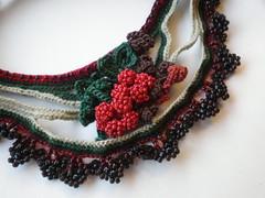 Prunus Cerasus Freeform Crochet Necklace