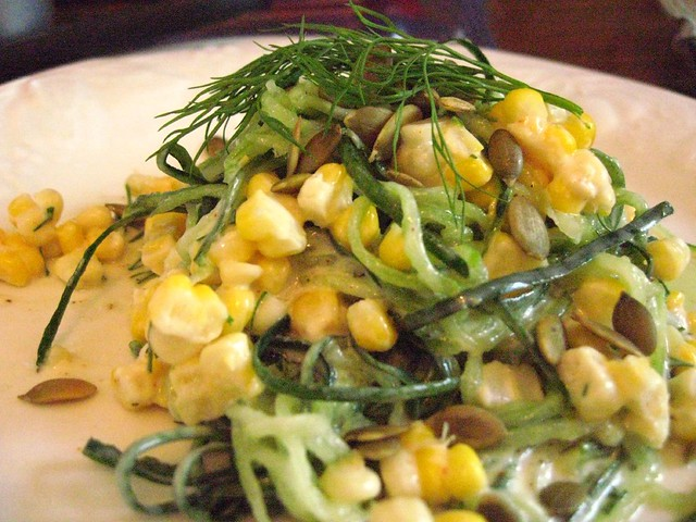 Cucumber Noodles with BBQ'd Corn & Lemon-Dill Dressing