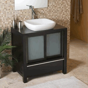 Decolav Bathroom Furniture With Ceramic White Wood Vanity And Sliding Inlaid Frosted Glass Doors
