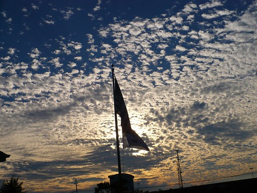 sunset clouds flag