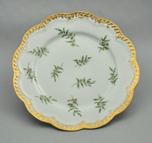 Porcelain plate hand-painted by Carrie Links Oliver, Oconto, Wisconsin, ca. 1900