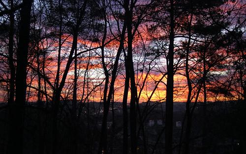 morning trees atlanta red sky orange usa black colors yellow sunrise georgia nikon traffic unitedstates south southern blazing alpharetta d80 platinumphoto focallength28mm exposure0017sec aperturef33