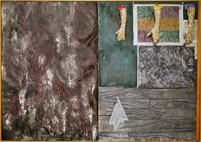Perilous Night, 1982 encaustic on canvas with objects by Jasper Johns
