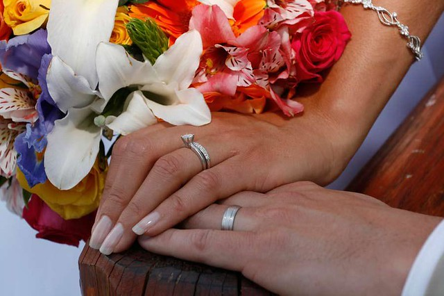 Wedding Rings Hands Light Background