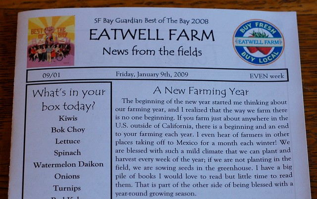 Eatwell Farm CSA newsletter from January 2009 by Eve Fox, the Garden of Eating, copyright 2009
