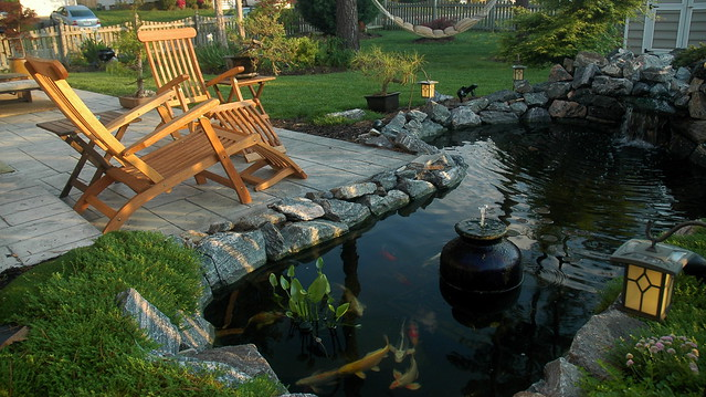 Cement Backyard Pond : Backyard koi pondstamped concrete patio  Explore J ~Amaral