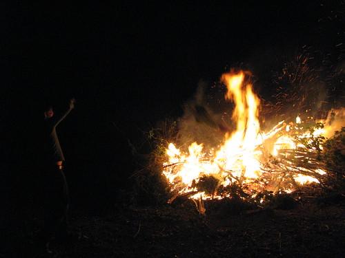 Nico building a fire