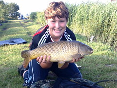 8lb 6oz common caught by Connor on Moss Lake 26th July '08