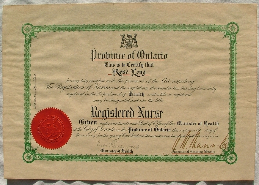 Province Of Ontario Registered Nurse Certificate 1929 A Photo On