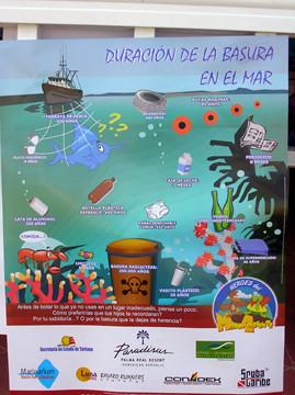 Afiche ilustrativo sobre la basura en el Mar
