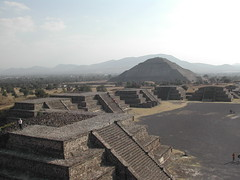 Looking down the avenue of the dead to the Pyramid of the Sun in Teotihuacan, Mexico.  Taken from the Pyramid of the Moon