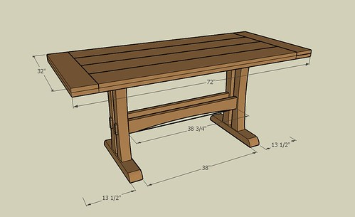 Another trestle table design for Post trestle farm table plans