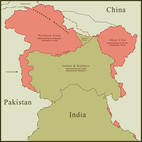 Map Of India And Pakistan Border.Map Of Kashmir Border Disputes This Is A Map Of Kashmir Re Flickr