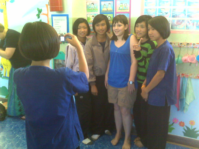 Olivia with Thai teens