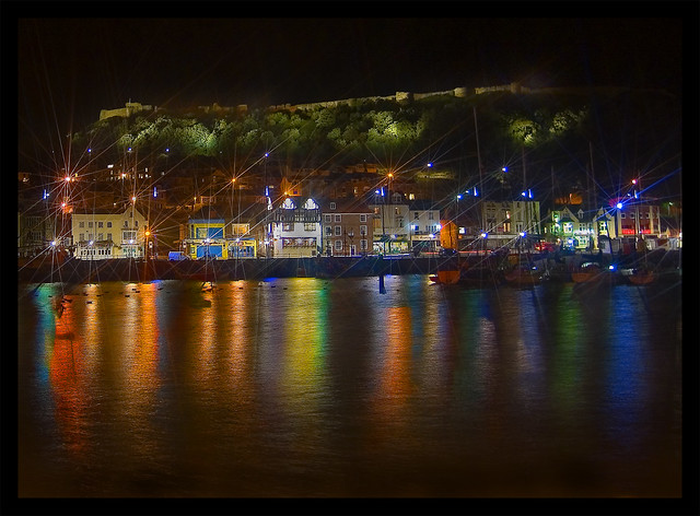 Scarborough Harbour & Castle By Night