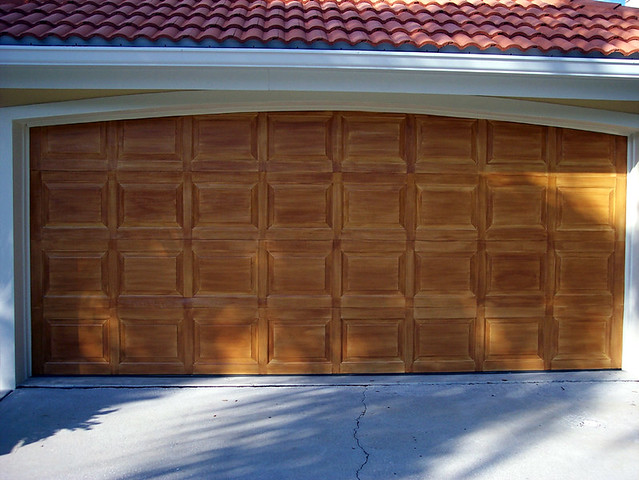 Wood grain garage doors flickr photo sharing for Wood grain garage doors