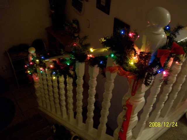 Christmas Railing Railing Decorated With Lights By