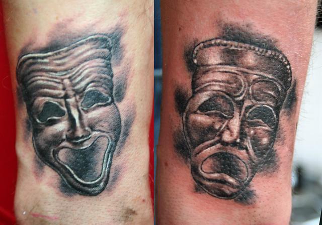 tragedy and comedy theatre masks tattoo by mirek vel stotker flickr photo sharing. Black Bedroom Furniture Sets. Home Design Ideas