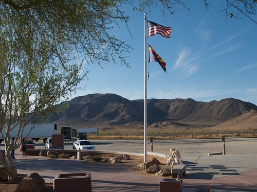 travel mountains landscape flag reststop american i10 interstate10