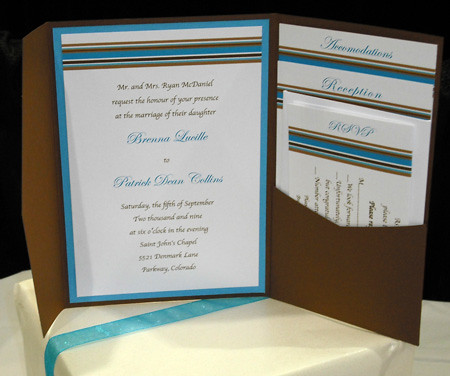 Turquoise Chocolate Brown Mod Stripes Pocket Wedding Invitation