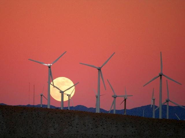 Moon Rise behind the San Gorgonio Pass Wind Farm