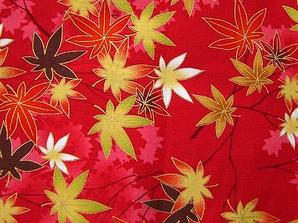 Beautiful Japanese Cotton Fabric-Autumn Leaves Half Yard (F332)