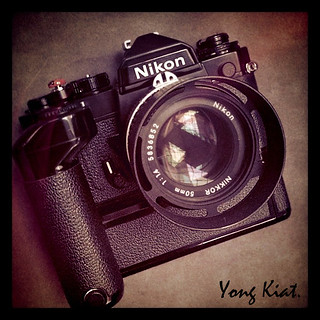 An example of a Nikon FE-2 w/ MD-12, via Flickr.