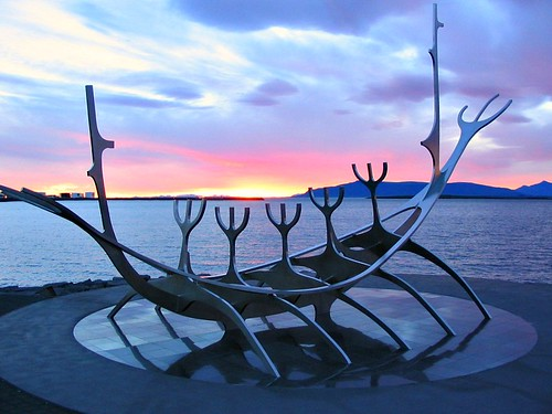 sunset sky sculpture sun statue landscape iceland islandia best reykjavik voyager reykjavík ísland islande sólfar vikingboat justclouds