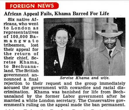 Seretse Khama Appeal Fails, Banned for Life - Jet Magazine, May 15, 1952