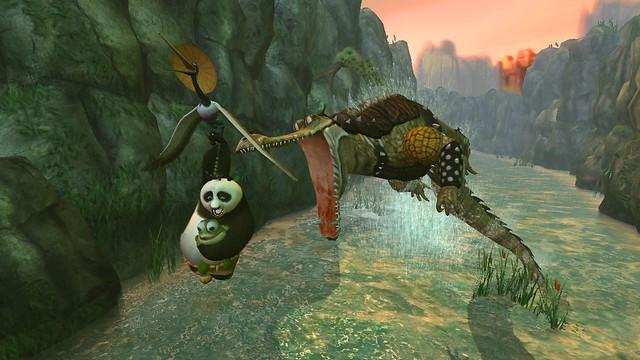 Kung Fu Panda (X360) - Po, crane, and baby turtle vs