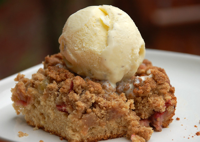gooseberry crumble with vanilla lavender ice cream - a photo on ...