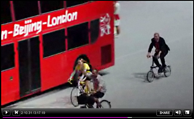 Chris Hoy on Brompton Bike - Olympic Handover Ceremony - BBC Screengrab