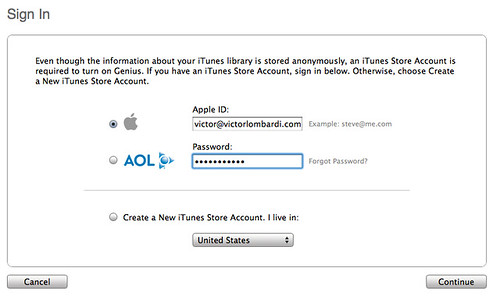 itunes  sign in screen