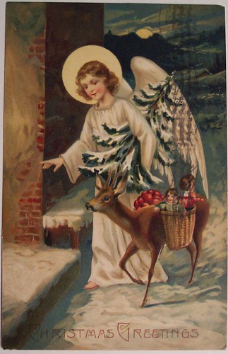Vintage Christmas Angel Postcard by riptheskull