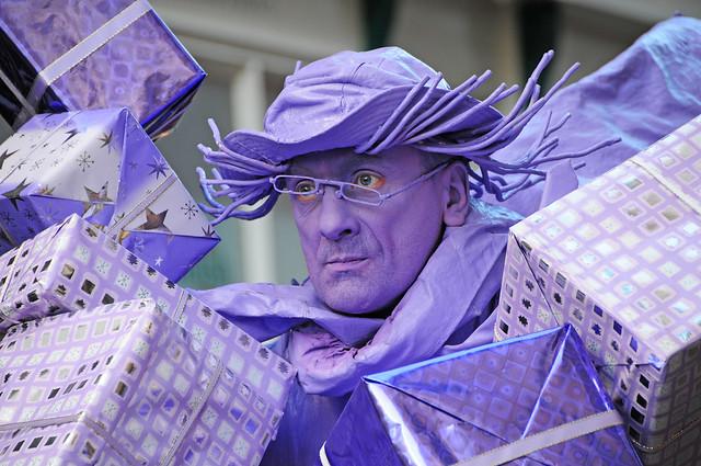 Purple Man, Living Street Art, Sculpture, City of York