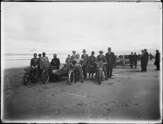 Motorcycle rally, New Brighton beach, Christchurch, ca 1920