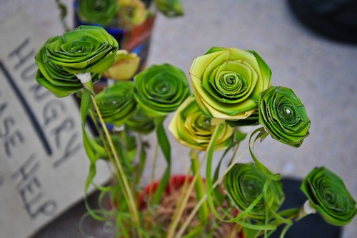 Roses made of palm.