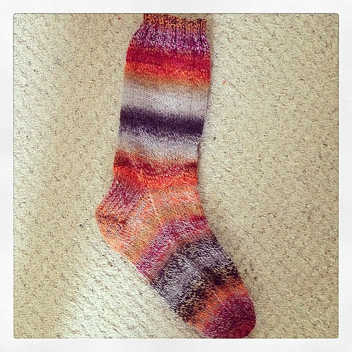 And one sock down... I can't believe that this sock was knitted in 2 days!