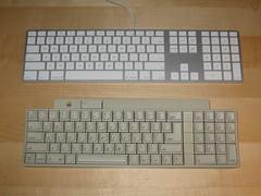 Apple Keyboard vs. Apple IIgs keyboard (circa 1986)